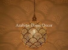 "Moroccan Silver Plated Brass 16"" Hanging Lamp - Ceiling Light Fixture"