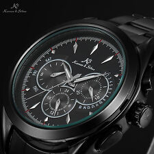 KS Navigator Black Day Date 24 Hours Automatic Mechanical Steel Wrist Watch