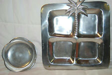 "METALWARE 11.5"" DIVIDED SERVING TRAY PALM TREE DESIGN & 6"" BOWL"