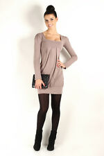 Gorgeous Women's Mini Dress Square Neck Tunic Long Sleeve Sizes 8 -18 2534