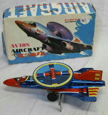 """9"""" VINTAGE AVION AIRCRAFT TIN METAL WIND UP TOY PLANE MADE IN CHINA"""