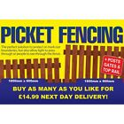 Treated Picket Fence Panel, Fence Post, Gate 6x2 - 6x3 - Next Day Delivery