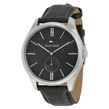 Tommy Hilfiger Curis Grey Dial Black Leather Mens Watch 1791168