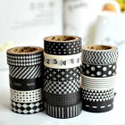 10pcs 1.5cm×10M Sticky Paper Adhesive Sticker Decorative Masking Washi Tape DIY