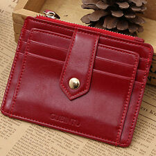 Red Women's Leather Slim Wallets Pocket Money Clip Credit Card Holder Coin Purse