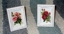 SHABBY FRAME CHIC PINK ROSE COTTAGE ROSE PRINT FRENCH COTTAGE PARIS DECOR PAIR