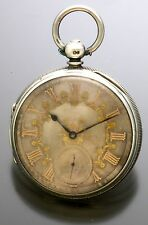 Antique Silver Lever Fusee Pocket Watch with Fancy Gold on Silver Dial CA1860