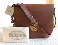NWT Fossil Leather Emi Saddle Bag Brown ZB6851200 Dustbag