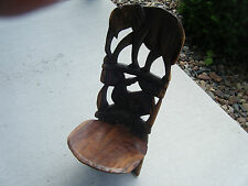 HAND CARVED WOODEN AFRICAN BIRTHING CHAIR / STOOL