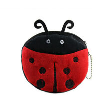 2016 Hot Cute Red Ladybug Girl Portable Zipper Wallets Coin Purse Case Plush Bag