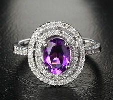6X8mm VS Amethyst Pave .42ct Diamond 14K White Gold Halo Engagement/Promise Ring