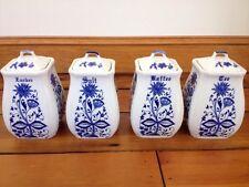 Vtg German Delft Blue Porcelain Sugar Salt Coffee Tea Kitchen Canisters Jars