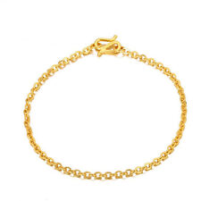 New Solid 24K Yellow Gold Special O Link Bracelet Bangle 17cm Length
