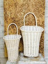 Willow Wall Basket Door Decor Wall Pocket White Washed-S/2~Easter Baskets