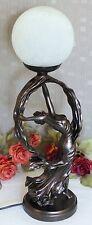 Tischlampe Glas Antik Lampe Leuchte Tischleuchte  Jugendstil Nachttischlampe