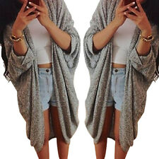 Womens FASHION Cardigan Casual Knit Sleeve Sweater Casual Coat Jacket Size XL
