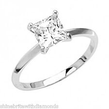 2 Ct Princess Cut Solitaire Engagement Wedding Promise Ring Solid 14K White Gold