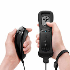 Black Built in Motion Plus Remote Controller And Nunchuck for Nintendo Wii U FO