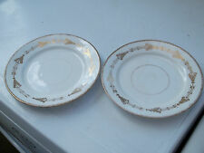 TWO ? VINTAGE SIDE PLATES  WITH A GOLD COLOURED  PATTERN   NO MAKER