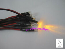 20 x 3mm Yellow Flicker 9V 12V Pre-Wired Water Clear LED Leds Candle Light 18CM