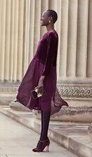 NWT Eileen Fisher Washable Velvet Silk Duster Tunic Dress in Raisonette Size S