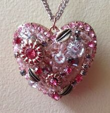 NWT Betsey Johnson Authentic Rose Gold-Tone Crystal Vintage Heart Necklace-$75