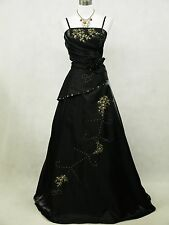 Cherlone Satin Black Long Ball Sparkle Wedding/Evening Bridesmaid Gown Dres 22