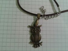 "TIBETAN ANTIQUE GOLD PLT ""OWL"" PENDANT ON18"" BROWN WAXED NECKLACE"