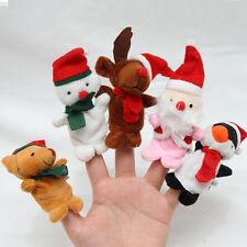 5 Pcs Jouets  Marionnettes De Doigts En Peluche Animaux Poupée Noël Décor