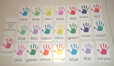22 Miniature Handprint themed Colors Flashcards. 2 x 3.5 inches Vertical lamina