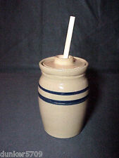 5 3/4 INCH TALL POTTERY CLAY STORAGE POT JAR WITH LID & STICK JAM HONEY SYRUP #1