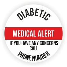 20 Large Personalised Stickers For Child With Diabetes Add Your Phone No.