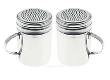 Stainless Steel Dredge Shaker - Salt Pepper Sugar Spice Dredge Shaker - Set of 2