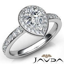 Natural Pear Diamond Halo Pave Set Engagement Ring GIA G VVS2 Platinum 0.95Ct