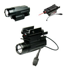 Pistol LED Flashlight w/ Low Profile Red Laser Sight Fits Glock Ruger Compact