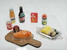Vintage Dollhouse Lot of Food Bread & Cheese on Board Vegetables Tang Bottles
