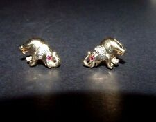 FINE PAIR OF HEAVY 9CT GOLD ELEPHANT EARRINGS WITH REAL DIAMONDS AND RUBIES.
