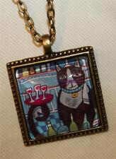 Delightful Little Black Cat with Tray on Tail Square Brasstone Pendant Necklace