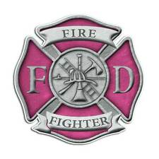 Pink Firefighter Cross Sticker - Fire Department Girl Decal