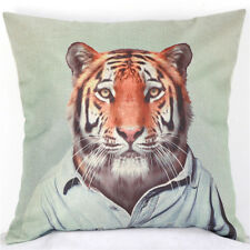 NEW! Home Decor Work Cotton Linen Tiger Man Cushion Cover Pillow Sofa 45cm