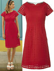 New White Stuff 8 - 18 Paradise Broderie Anglaise Crochet Red A-Line Tea Dress