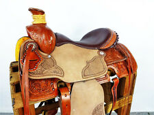 """16"""" CLASSIC ROUGH OUT WESTERN WADE ROPING RANCH LEATHER HORSE COWBOY SADDLE TACK"""