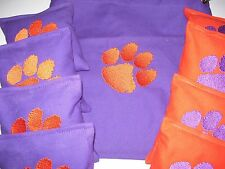 Clemson Tigers Set of 8 Embroidered Cornhole Bags & Storage Bag