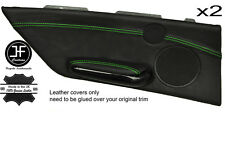 GREEN STITCH 2X REAR DOOR CARD TRIM LEATHER COVER FOR BMW E46 CONVERTIBLE 98-05