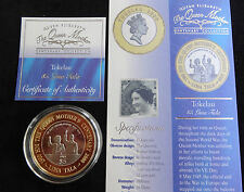 2000 SILVER PROOF GOLD PLATING TOKELAU $5 COIN + COA'S QUEEN MOTHER 100th