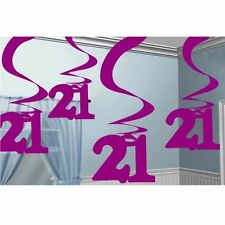 21 21st Birthday Party Pink Swirl Ceiling Hanging Decoration - 992370