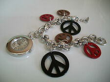 DESIGNER SILVER  FINISH RED,BLACK & BROWN PEACE SIGN CHARM WATCH