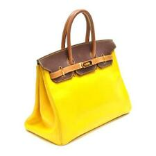 Authentic Vintage Hermes 35cm Birkin Bag in Yellow and Brown Courchev... Lot 245