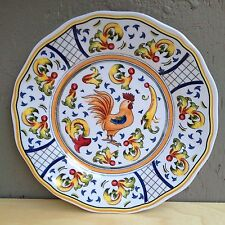 """One Sur La Table ROOSTER 9"""" Melamine Salad Luncheon Plate Yellow Blue Excellent"""