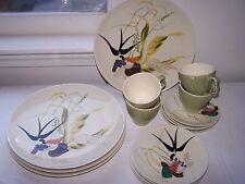 VINTAGE RED WING CAPISTRANO 4 EACH DINNER PLATE SALAD PLATE CUP SAUCER 16 PIECES